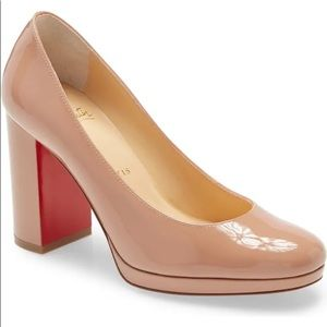 Louboutin Kabetts patent nude block heel pumps
